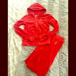 Red Velour Juicy Couture Tracksuit size small